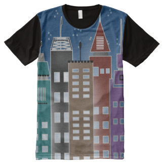Tall City Buildings All Over Print Shirt All-Over Print T-Shirt