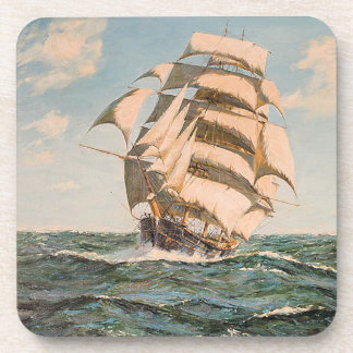 Tall Clipper Ship Sailing Ocean High Seas Coaster