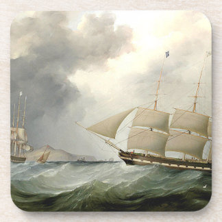 Tall Clipper Ships Sailing Ocean Seas Coaster