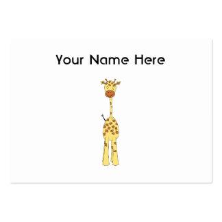 Tall Cute Giraffe. Cartoon Animal. Pack Of Chubby Business Cards