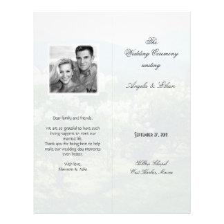 Tall, Folded Scenic Background Wedding Program Flyer