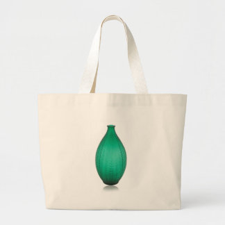 Tall Green Art Deco Glass Vase Large Tote Bag