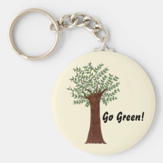Tall Green Tree Key Ring