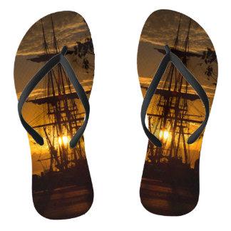 Tall-masted Sailing Ship at Sunset Thongs