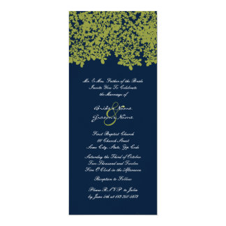 Tall Navu and Lime Floral Wedding Invitations