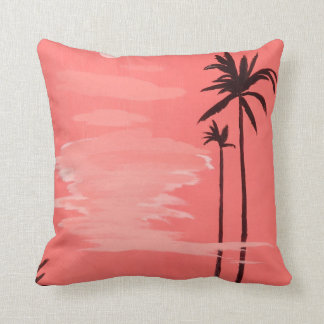 Tall Palm Trees Painting Throw Pillow Cushions
