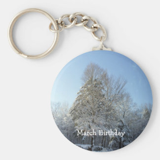 Tall Pine Tree Covered in Snow Key Ring