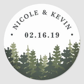 Tall Pines | Personalized Wedding Classic Round Sticker