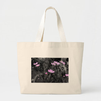 Tall Pink Poppies in the wind Large Tote Bag