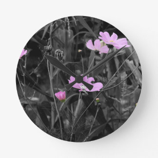 Tall Pink Poppies in the wind Wall Clocks