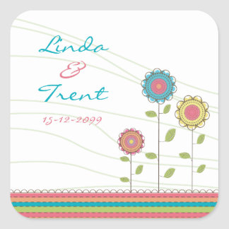 Tall Rainbow Flowers Wedding Save the Date Sticker