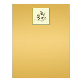 Tall Sailing Ship. Yellowy Tan Color Surround. Card