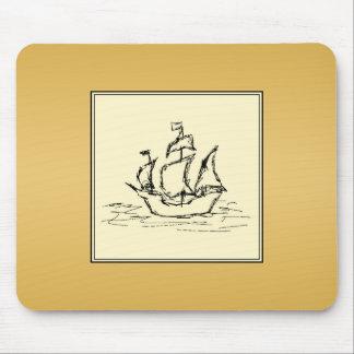 Tall Sailing Ship Yellowy Tan Color Surround Mouse Pad