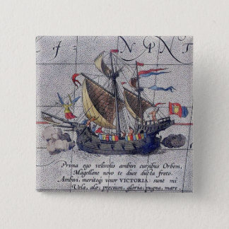 Tall Ship and Map of Pacific Ocean 15 Cm Square Badge