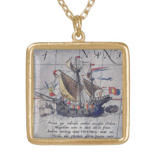 Tall Ship and Map of Pacific Ocean Gold Plated Necklace