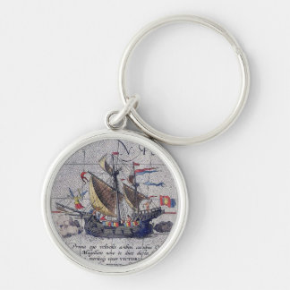 Tall Ship and Map of Pacific Ocean Key Ring