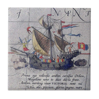 Tall Ship and Map of Pacific Ocean Small Square Tile