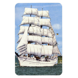 Tall ship at sea rectangular photo magnet
