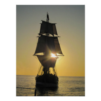 Tall Ship at Sunset Poster
