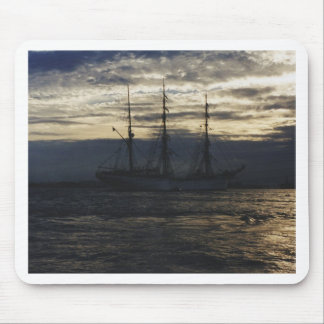 Tall ship in the evening mouse pad