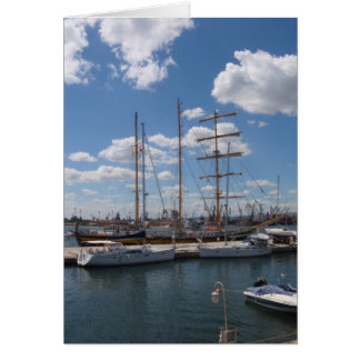 Tall Ship In The Port Of  Varna Card