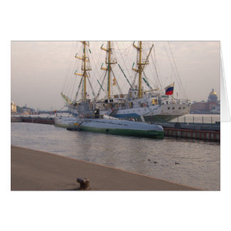 Tall Ship Mir And Submarine Card