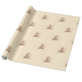 Tall Ship old fashioned graphic pattern on linen Wrapping Paper