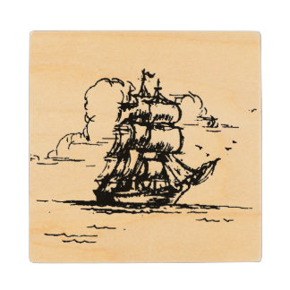 Tall Ship old fashioned graphic wood coaster