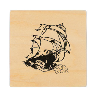 Tall Ship Sailing graphic wood coaster
