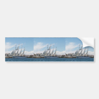Tall Ship Sailing Out Of Harbor Bumper Sticker