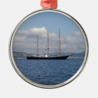 Tall Ship Silver-Colored Round Decoration