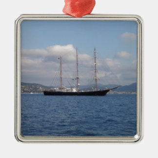 Tall Ship Silver-Colored Square Decoration