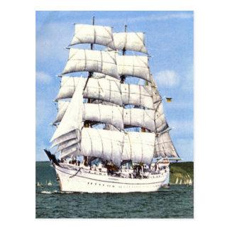 Tall ship, square rigger, postcard