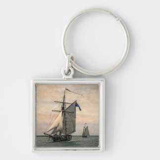 Tall Ships Festival, Digitally Altered Silver-Colored Square Key Ring