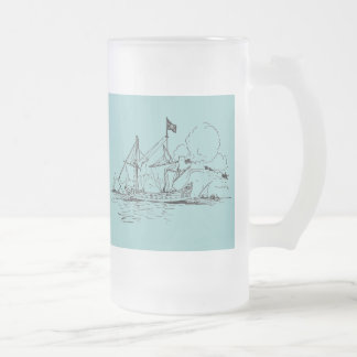 Tall Ships Frosted Glass Beer Mug