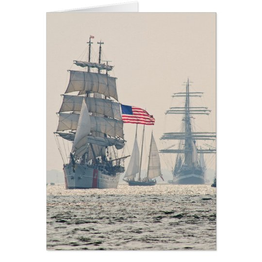 Tall Ships Leaving Charleston Harbour Card