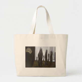 Tall Soldiers black and white surrealism Bags