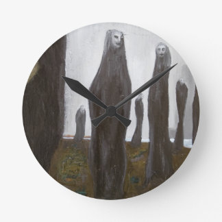 Tall Soldiers (black and white surrealism) Clock