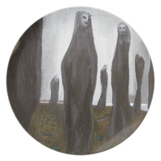 Tall Soldiers black and white surrealism Plate