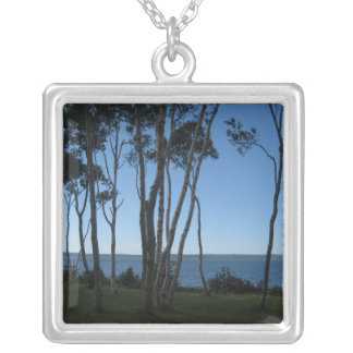 Tall Trees Ahead Square Pendant Necklace