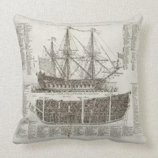 Tall War Ship Drawing Giant Throw Pillow
