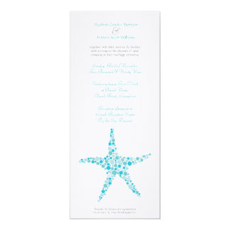 Tall Wedding Aqua Turquoise Starfish Invitation