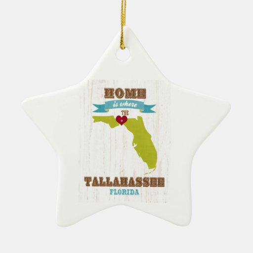 Tallahassee, Florida Map – Home Is Where The Heart Ornaments
