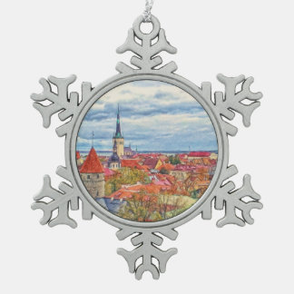 Tallinn Estonia Christmas Snowflake Pewter Christmas Ornament