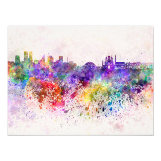 Tallinn skyline in watercolor background photo print