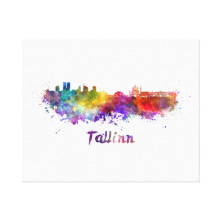 Tallinn skyline in watercolor canvas print