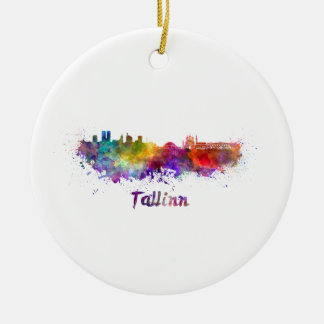 Tallinn skyline in watercolor ceramic ornament
