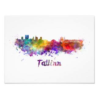 Tallinn skyline in watercolor photo print