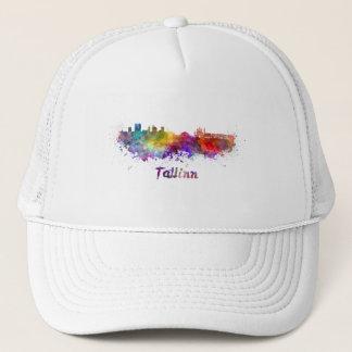 Tallinn skyline in watercolor trucker hat