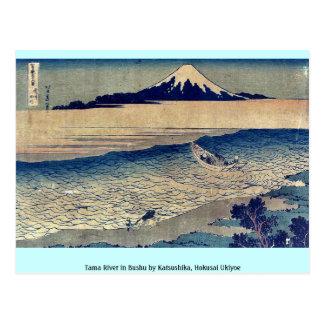 Tama River in Bushu by Katsushika, Hokusai Ukiyoe Postcard